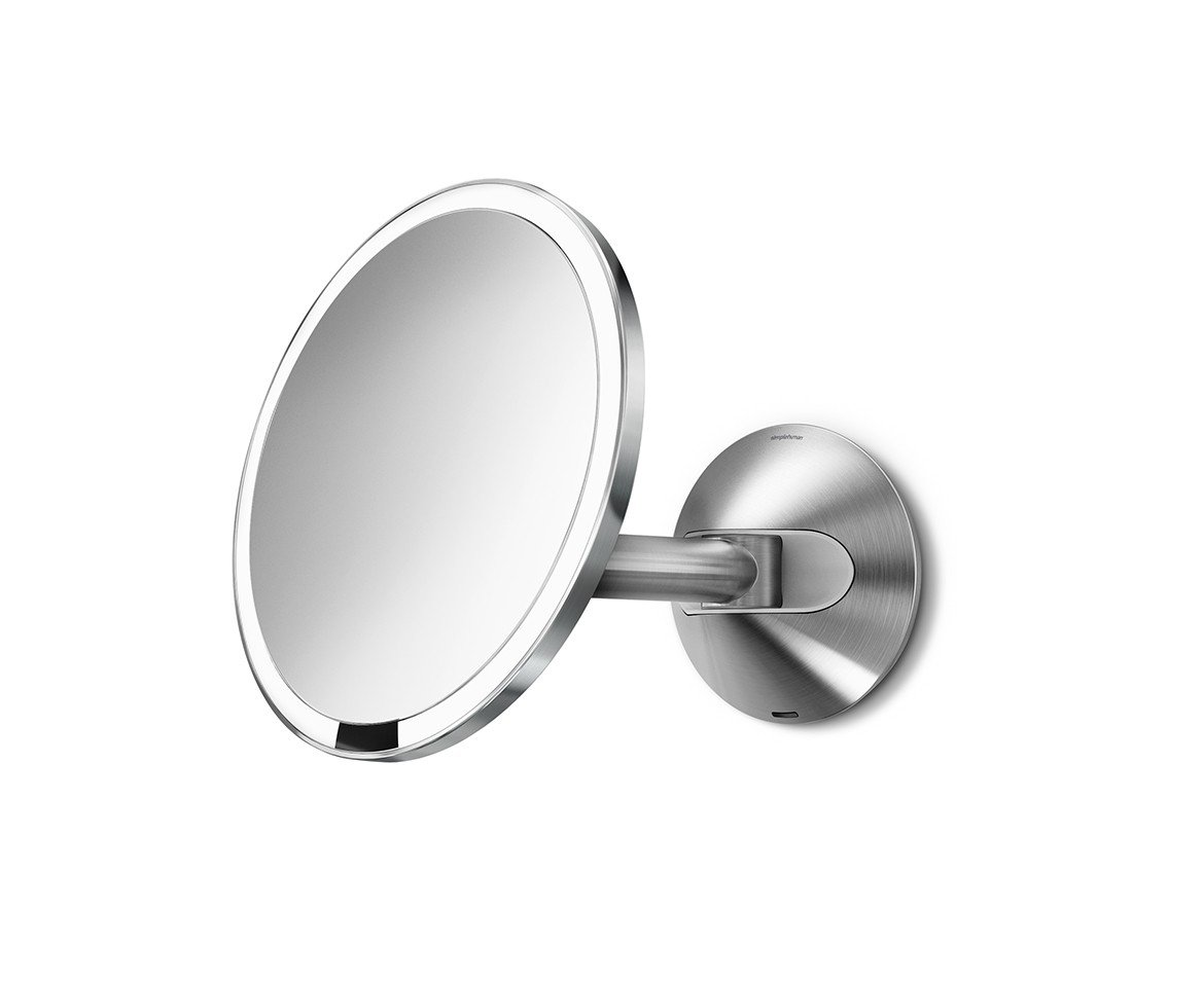simplehuman 8 inch Wall Mount Sensor Mirror, Lighted Makeup Mirror, Rechargeable 5x Magnification