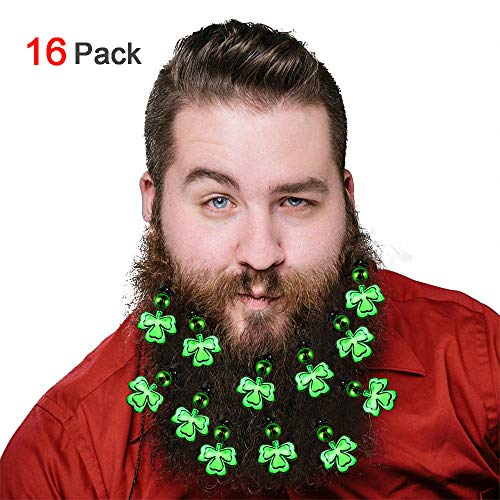 Konsait 16Pack St Patrick's Day Beard Ornaments Beard Baubles St Pattys Day Dress up Accessories Gift Idea for Men St Patrick's Day Party Favor Supplies Decoration ()