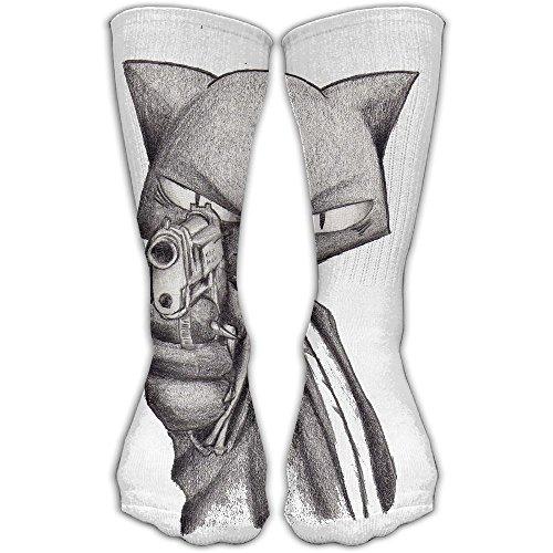 Gangster Cat Women & Men Socks Soccer Sport Tube Stockings Length 30cm -