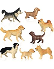 Dog Figurines Toy Set 8 Pcs Mini Dog Figurines Playset Plastic Realistic Hand Painted Animals Toy Figurine Model Cake Cupcake Topper Learning Toy Set for Kids Birthday Gift Collection Desk Decorations