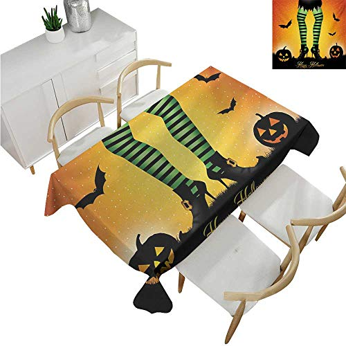 familytaste Halloween,Outdoor Tablecloth,Cartoon Witch Legs with Striped Leggings Western Concept Bats and Pumpkins Print,Tablecloth for Wedding 50