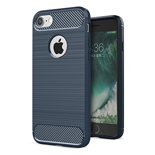 "Apple iPhone 7 8 4.7"" Handy Tasche TPU Case Carbon Skin Brushed Muster Schutz Hülle Bag Blau"