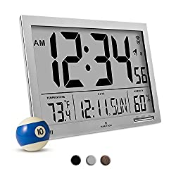 Marathon CL030062GG Slim-Jumbo Atomic Digital Wall Clock with Temperature, Date and Humidity (Graphite Grey)