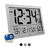 MARATHON CL030062GG Slim-Jumbo Atomic Digital Wall Clock