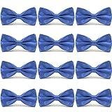 AVANTMEN Men's Bowties Formal Satin Solid - 12 Pack Bow Ties Pre-tied Adjustable Ties for Men Many Colors Option