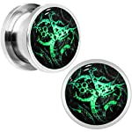 Body Candy Stainless Steel Steampunk Gears Glow in The Dark Screw Fit Plug Pair (5mm to 20mm) 8
