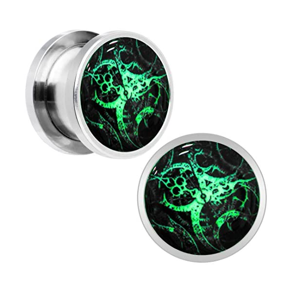Body Candy Stainless Steel Steampunk Gears Glow in The Dark Screw Fit Plug Pair (5mm to 20mm) 5