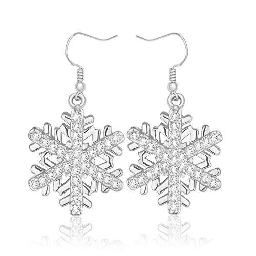 MANZHEN 3 Colors Crystal Winter Snowflake Flower Dangle Earrings for Women (Silver) (Snowflake Earrings Winter)