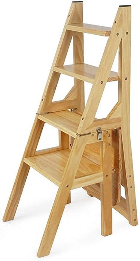 Estante Escaleras de tijera Escalera de escalera de madera maciza plegable Silla de taburete Escalera de tijera multifunción Escalera de escalera Silla de escalera Capacidad de 300 lb Pasos plegables,: Amazon.es: Hogar