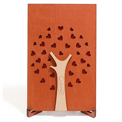Handmade Wood Love, Valentines Card special Wooden Gift for Wedding Anniversary, Valentine's Day, Birthday, unique Present for Him Boyfriend Man Husband or Her Girlfriend Women Wife (Family Tree)