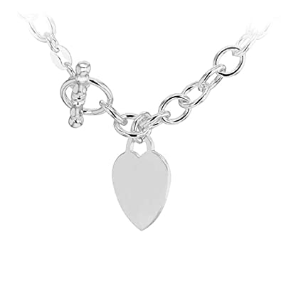 7603a9d35 Tuscany Silver Sterling Silver Small Oval Belcher Heart T-Bar Chain of  41cm/16