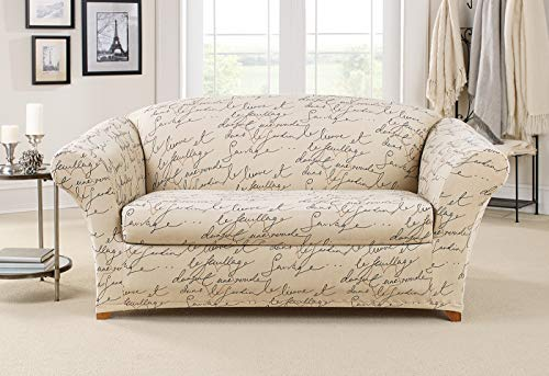 Sure Fit Stretch Pen Pal by Waverly Separate Seat Chair Slipcover - Parchment (SF43532) (Parchment, Loveseat)