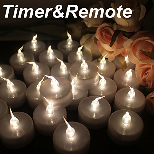 Topstone Pack of 12 Remote Controlled LED Tea Light,White Flickering Bulb,Long Lasting Battery Operated LED votive candle with Timer,for Seasonal &Festival Celebration (Warm White) (Lights Remote Led Controlled Tea)