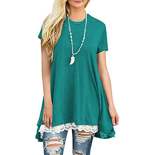 Women's Short Sleeve Tops,Lace Trim Scoop Neck A-line Tunic Swing Mini Dress Great Gift for Easter Mother's Day Costume (Green, 2XL) by Hotcl_Clearance Women Top (Image #1)