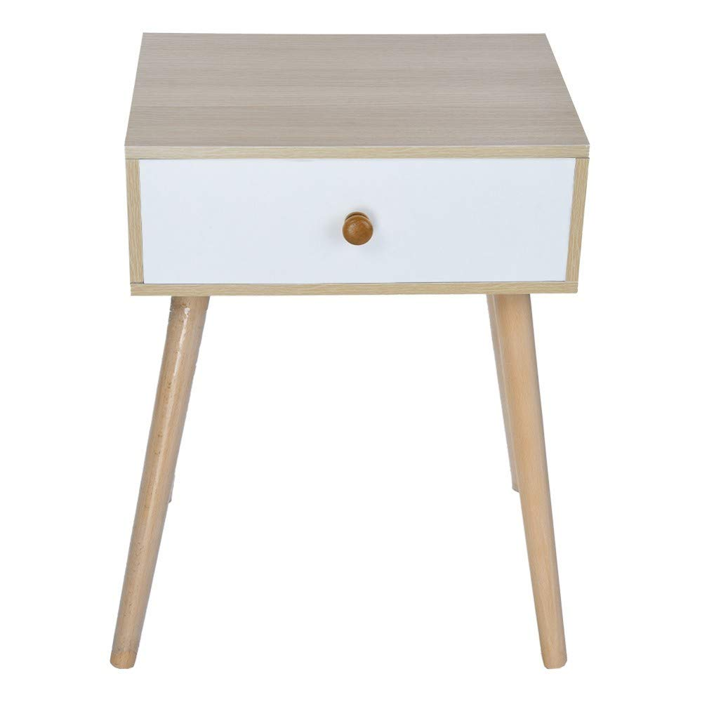Rigel7 Simple Log Bedroom Storage Cabinet Solid Wood Legs Storage Single Drawer Cabinet End Table Night Stand Coffee Table for Living Room, Bedroom by Rigel7