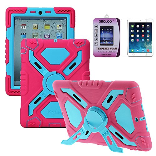 [Skoloo Silicone Kid Proof Duty Dual Stylis Protective Case with Kickstand and Sticker + Tempered-Glass Screen Protector - Rainproof Sandproof Dust-proof Shockproof for iPad mini 3 - SLC01] (Master Chief Suit For Sale)