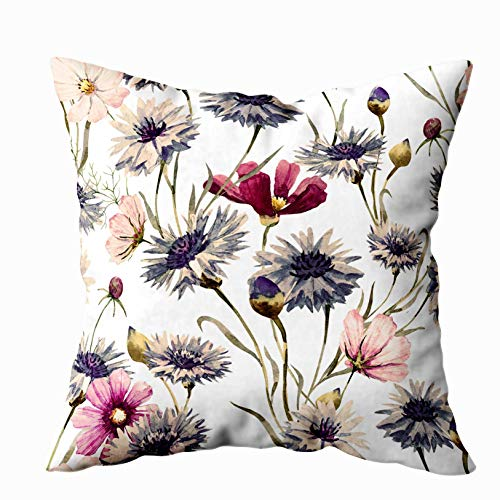 Musesh Home Pillow Cover, Watercolor Pattern Blue Cornflower Pink Flower Retro Wallpaper for Sofa Home Decorative Pillowcase 20X20Inch Pillow Covers
