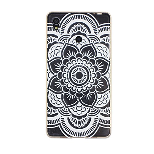 """Z3 Case, Xperia Z3 Case, Moon mood® 2-in-1 Case for Sony Xperia Z3 5.2"""" Gold Aluminium Alloy Metal Frame Bumper & Sliding Polycarbonate Plastic Backplane Ultra-thin Slim Colorful Painting Protector Cover Shell (Transparent Clear Circle Flower)"""