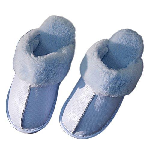 Cybling Moda Cálido Zapatillas De Casa De Interior Antideslizante Impermeable Piel Zinc Zapato Azul Claro