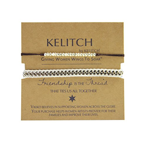 KELITCH 2 Pcs Silver Beads Chain Leather Woven Bracelets Handmade Fashion Charm Jewelry (White)