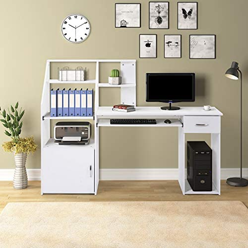 Merax Computer Desk with Cabinet Home Office Desk, Computer Workstation, Study Writing Desk with Storage Drawer and Pull-Out Keyboard Tray White