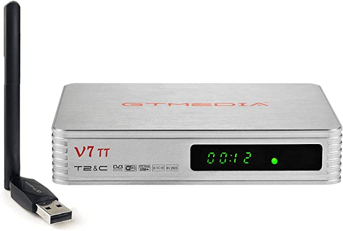 GTMEDIA V7 TT DVB-T/T2 Decodificador TDT DVB-C Receptor de TV 1080P Full HD DVB-T/T2/Cable/J.83B Soporte Multi PLP USB PVR Ready+GTMedia Antenna WiFi ...