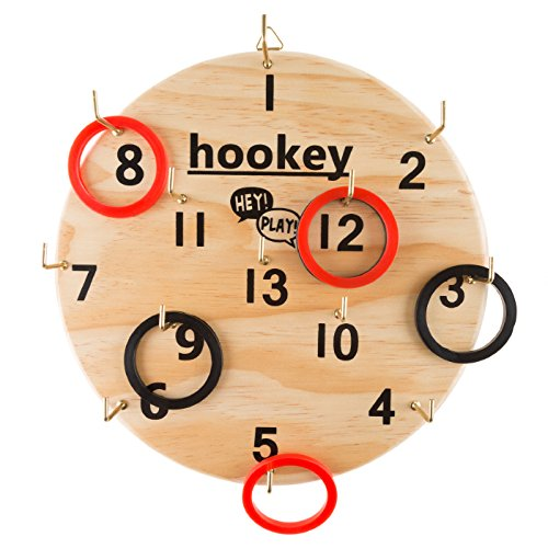 Wooden Hookey Ring Toss Game Set - Includes Game Board and 12 Rubber Rings! by TMG