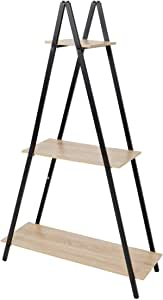 C-Hopetree Ladder Shelf Bookcase - Bookshelf - 3 Tier Plant Stand - Black Metal Frame