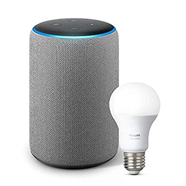 Echo Plus (2nd Gen) with Philips Hue Bulb - Alexa smart home starter kit - Heather Gray