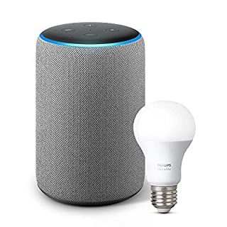 Echo Plus (2nd Gen) with Philips Hue Bulb - Alexa smart home starter kit - Heather Gray (B07H18JY6D) | Amazon Products