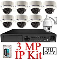 USG 3MP IP PTZ CCTV Kit: 1x 16Ch @ 3MP NVR + 1x 1080P IP PTZ 4.7-47mm Speed Dome Camera + 7x 3MP IP PoE 2.8-12mm Dome Cameras + 1x 3TB HDD *** Ultra High Definition Video Surveillance For Your Home or Business!