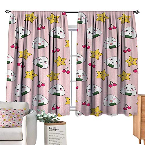 (RuppertTextile Simple Curtain Anime,Happy Crying Cute Cartoon Rice Balls Cherries Stars Pattern on Stripes Art,Pink Yellow and White Suitable for Bedroom Living Room Study, etc.55 Wx63 L)