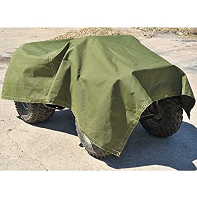Cartman Olive Drab 10 oz Canvas Tarpaulin 3 Sizes for Option (8' x 10'): Industrial & Scientific