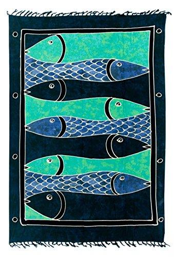 Sarong Pareo Dhoti Lunghi ca. 170cm x 110cm Blau Grün Batik mit Fisch Motiv Handgefertigt