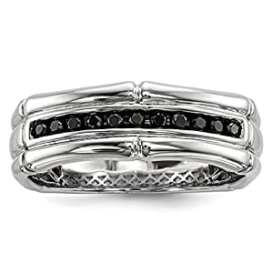 ICE CARATS 925 Sterling Silver Black Diamond Mens Band Ring Size 10.00 Man