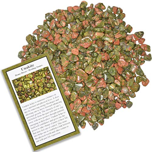 Fantasia Materials: 18 lbs Tumbled Unakite Chip Stones with ID Card - Natural Earth Mined Brazilian (Not China) Polished Rocks for Art, Crafts, Reiki, Jewelry Making, Home Decoration and More!