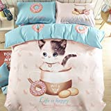 100% Cotton Cartoon Print Kids 4pc BeddingSet One Duvet Cover One Flat Sheet Two Pillow Cases Without Comforter and Fitted Sheet Queen Size Cat Donuts Design (Cat Donuts, Queen)