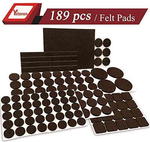 Yelanon Furniture Pads 189 Pieces - Self Adhesive Felt Pad Brown Felt Furniture Pads Anti Scratch Floor Protectors for Chair Legs Feet . for Protect Hardwood Tile Wood Floor & Laminate Flooring