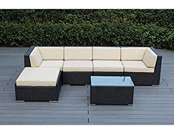 Ohana 6-Piece Outdoor Patio Furniture Sectional Conversation Set, Black Wicker with Beige Cushions – No Assembly with Free Patio Cover