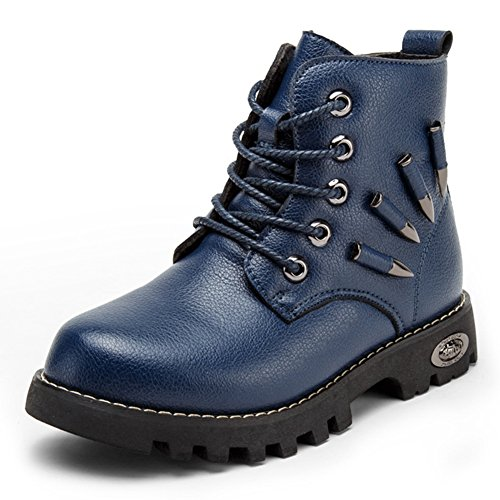 Boys Winter Warm Fur Lining Buckle Combat Hiking Martin Boots Velvet Kid Toddler Lace up Short Ankle Boot