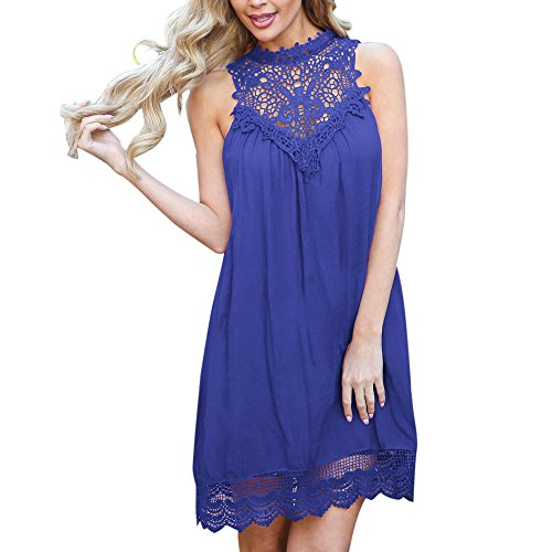 LISTHA Womens Chiffon Mini Dresses Lace Solid Sleeveless Dress Casual Swing Short