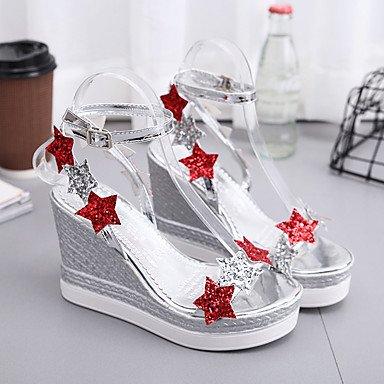 Confort US7 PU talón cuña 5 UK5 mujeres verano exterior hebilla sandalias EU38 Plata de CN38 5 caminando Oro de Las xwnXCzq06x