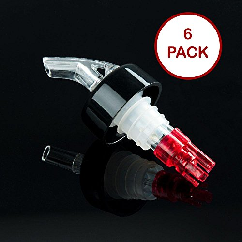 Tiger Chef 1 OZ Measured Liquor Pourer Tail with Collar Liquor Spout Pourer, 6 Pack