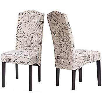 merax fabric dining chairs script fabric accent chair with solid wood legs set of 2