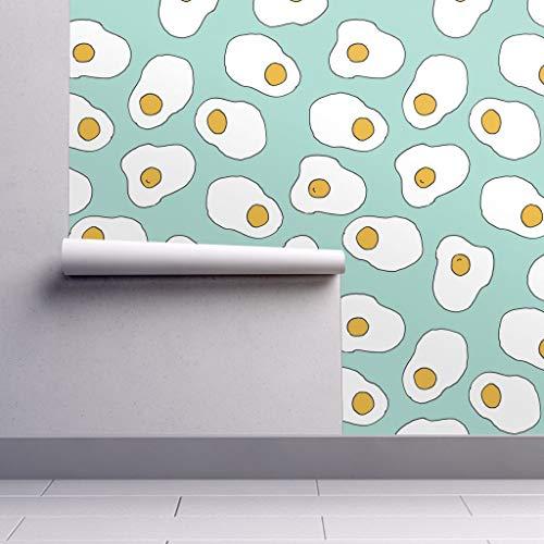 Eggs Wallpaper Roll - Egg Mint Food Breakfast Brunch by Andrea Lauren - 1 Roll 24in x 27ft