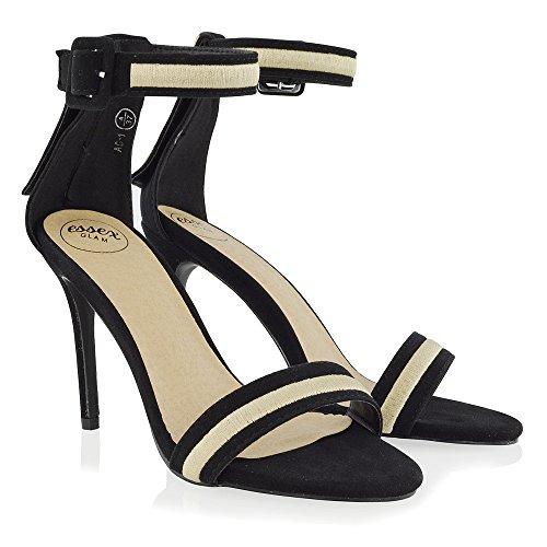 ESSEX GLAM Mujer Correa de Tobillo estilete Negro Gamuza Sintética Fiesta Zapato EU 36 tDc1tbkMS3