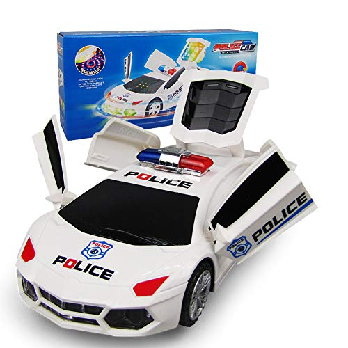 360° Rotation LED Light Up Police Car Toys Bump and Go Truck Funny Gifts  Cool Gadgets for Toddlers Kids Boys with Stunning 3D Light & Sounds