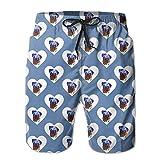 Love Heart Boxer Dog Men's Quick Dry Summer Surfing Boardshorts XXL