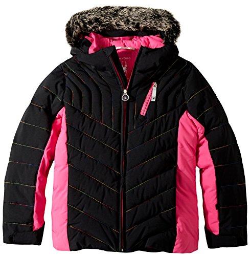 (Spyder Girls Hottie Faux Fur Ski Jacket, Black/Raspberry, Size 14)