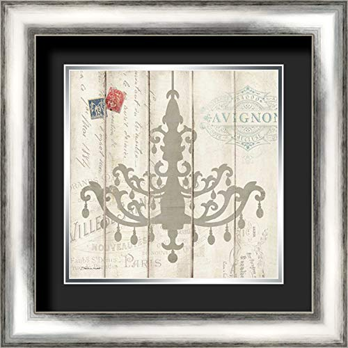 Victorian Chandelier 20x20 Silver Contemporary Wood Framed and Double Matted (Black Over Silver) Art Print by Marrott, Stephanie